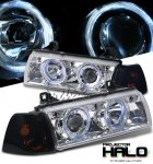 1996 BMW E36 Coupe 3 Series Clear Halo Projector Headlights and Smoked Corner Lights Set