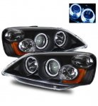 2002 Honda Civic Black Projector Headlights with Halo