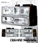 1999 Chevy Suburban Clear Projector Headlights and Bumper Lights Set