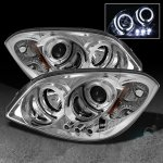 Chevy Cobalt 2005-2010 Clear Dual Halo Projector Headlights with LED