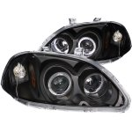 Honda Civic 1996-1998 Black Projector Headlights with Halo