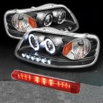 2002 Ford F150 Black Projector Headlights and LED Third Brake Light Set