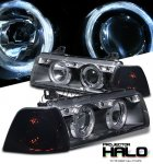 1998 BMW E36 Coupe 3 Series Black Halo Projector Headlights and Smoked Corner Lights Set