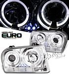 Chrysler 300 2005-2008 Clear Halo Projector Headlights with LED