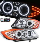 2007 BMW E90 Sedan 3 Series Clear CCFL Halo Projector Headlights with LED Corner Lights