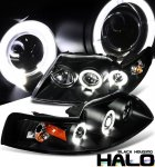 2001 Ford Mustang Black Dual Halo Projector Headlights