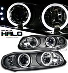 2000 Chevy Camaro Black Dual Halo Projector Headlights with LED
