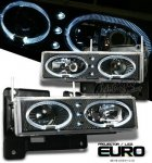 1999 Chevy Suburban Black Halo Projector Headlights with LED
