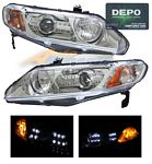 Honda Civic Sedan 2006-2008 Depo Clear Projector Headlights with Integrated LED