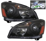 Nissan Altima 2005-2006 Depo Black Projector Headlights