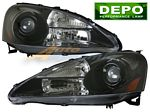 Acura RSX 2005-2006 Depo Black Projector Headlights
