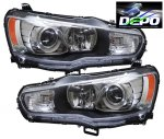 Mitsubishi Lancer 2008-2013 Depo Black Projector Headlights