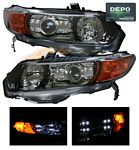 Honda Civic Coupe 2006-2011 Depo Black Projector Headlights with Integrated LED