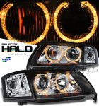 Audi A6 1997-2001 Depo Black Dual Halo Projector Headlights