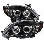 2009 Toyota Corolla Black Halo Projector Headlights with LED Daytime Running Lights