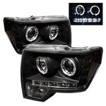 2009 Ford F150 Black Dual Halo Projector Headlights LED DRL
