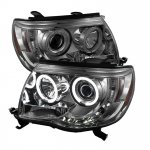 2010 Toyota Tacoma Smoked CCFL Halo Projector Headlights with LED