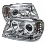2004 Jeep Grand Cherokee Clear CCFL Halo Projector Headlights with LED
