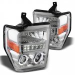 2010 Ford F450 Super Duty Chrome Projector Headlights Halo LED
