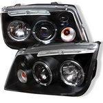VW Jetta 1999-2004 Black Dual Halo Projector Headlights with LED
