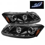 2008 Honda Accord Sedan Black Halo Projector Headlights with LED DRL