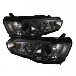 Mitsubishi Lancer 2008-2012 Smoked Halo HID Projector Headlights with LED