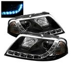 2004 VW Passat Black Projector Headlights with LED Daytime Running Lights