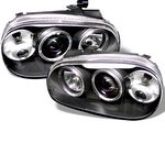 2003 VW Golf Black Dual Halo Projector Headlights