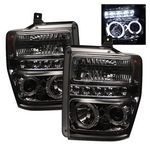 2008 Ford F250 Super Duty Smoked Dual Halo Projector Headlights with LED