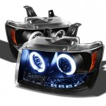 2011 Chevy Suburban Black CCFL Halo Projector Headlights with LED