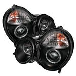 Mercedes Benz E Class 2000-2002 Black Dual Halo Projector Headlights