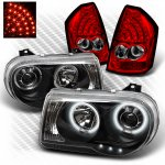 Chrysler 300C 2005-2007 Black CCFL Halo Headlights and Red LED Tail Lights