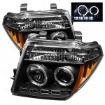 2006 Nissan Frontier Black Dual Halo Projector Headlights with LED