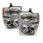 Ford F250 Super Duty 2008-2010 Clear CCFL Halo Projector Headlights