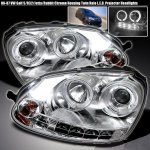 VW Jetta 2006-2009 Clear Dual Halo Projector Headlights with LED Daytime Running Lights