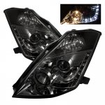Nissan 350Z 2003-2005 Smoked Projector Headlights with LED DRL