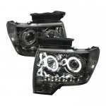 2009 Ford F150 Smoked CCFL Halo Projector Headlights with LED