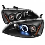 Honda Civic 2001-2003 Black CCFL Halo Projector Headlights