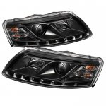 2007 Audi A6 Black Projector Headlights with LED Daytime Running Lights