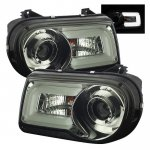 Chrysler 300C 2005-2010 Smoked Projector Headlights LED DRL