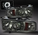 1999 Dodge Ram Sport Smoked CCFL Halo Projector Headlights with LED