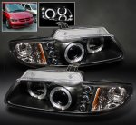 Chrysler Town and Country 1996-2000 Black Dual Halo Projector Headlights with Integrated LED