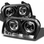Chrysler 300 2009-2010 Black Halo Projector Headlights with LED