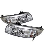 Honda Civic Coupe 2006-2011 Clear Dual Halo Projector Headlights