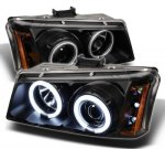 2003 Chevy Silverado 2500 Black CCFL Halo Projector Headlights with LED