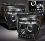 2011 Ford F450 Super Duty Black Halo Projector Headlights with LED DRL