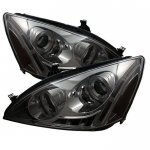 2007 Honda Accord Smoked Halo Projector Headlights with LED DRL