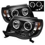 Toyota Tacoma 2005-2011 Black Dual Halo Projector Headlights LED DRL
