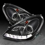 2009 Mercedes Benz SLK Black Projector Headlights with LED Daytime Running Lights