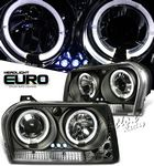 Chrysler 300 2005-2008 Black Halo Projector Headlights with LED